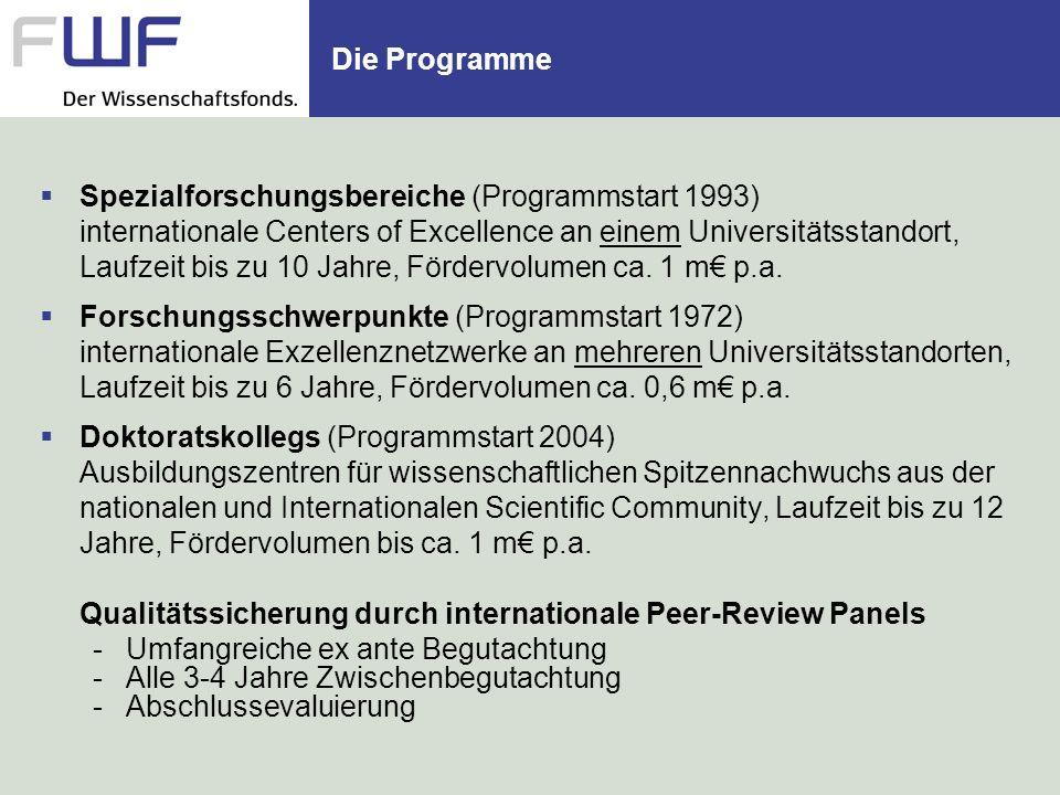 Spezialforschungsbereiche (Programmstart 1993) internationale Centers of Excellence an einem Universitätsstandort, Laufzeit bis zu 10 Jahre, Fördervolumen ca.