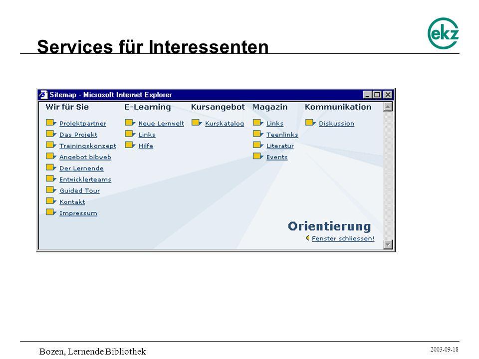 Bozen, Lernende Bibliothek 2003-09-18 Services für Interessenten
