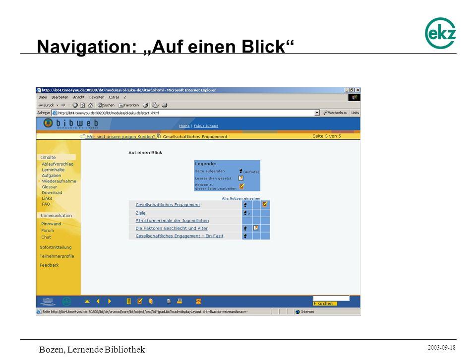 Bozen, Lernende Bibliothek 2003-09-18 Navigation: Auf einen Blick