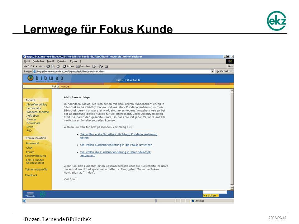 Bozen, Lernende Bibliothek 2003-09-18 Lernwege für Fokus Kunde