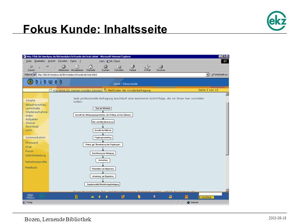 Bozen, Lernende Bibliothek 2003-09-18 Fokus Kunde: Inhaltsseite