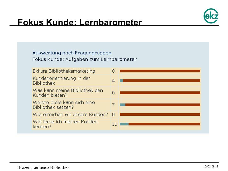 Bozen, Lernende Bibliothek 2003-09-18 Fokus Kunde: Lernbarometer