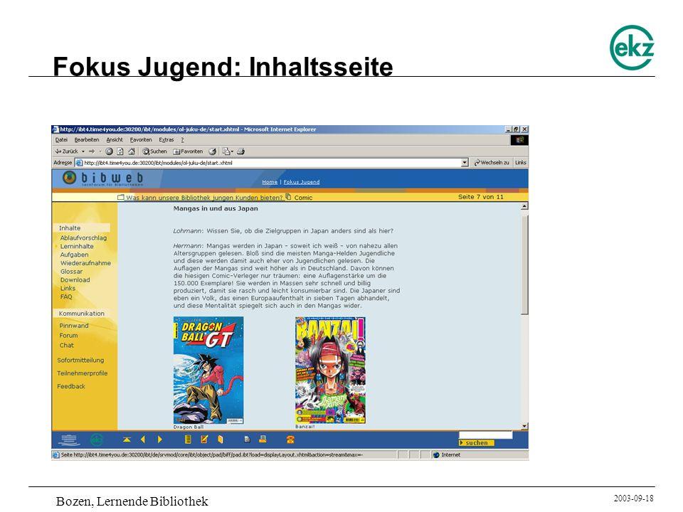 Bozen, Lernende Bibliothek 2003-09-18 Fokus Jugend: Inhaltsseite