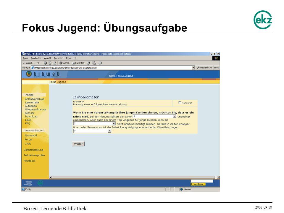 Bozen, Lernende Bibliothek 2003-09-18 Fokus Jugend: Übungsaufgabe