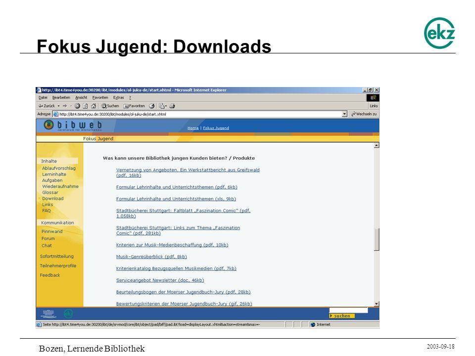Bozen, Lernende Bibliothek 2003-09-18 Fokus Jugend: Downloads
