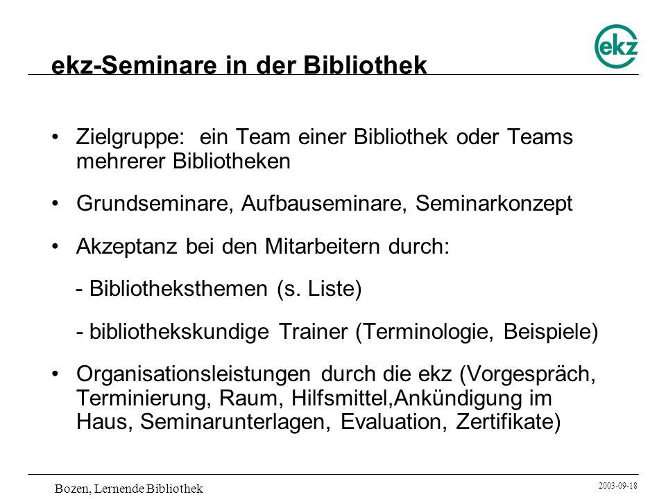 Bozen, Lernende Bibliothek 2003-09-18 ekz-Seminare in der Bibliothek Zielgruppe: ein Team einer Bibliothek oder Teams mehrerer Bibliotheken Grundsemin