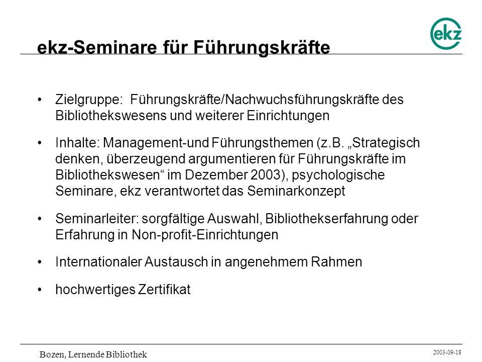Bozen, Lernende Bibliothek 2003-09-18 ekz-Seminare für Führungskräfte Zielgruppe: Führungskräfte/Nachwuchsführungskräfte des Bibliothekswesens und wei