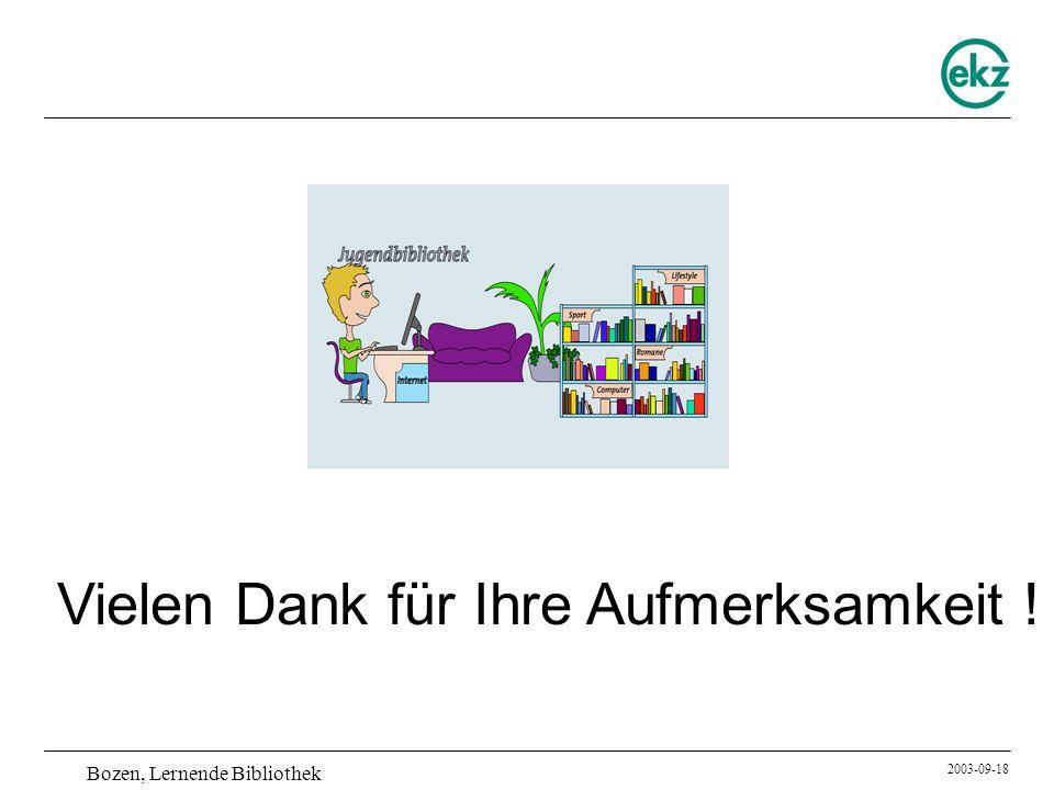 Bozen, Lernende Bibliothek 2003-09-18 Vielen Dank für Ihre Aufmerksamkeit !