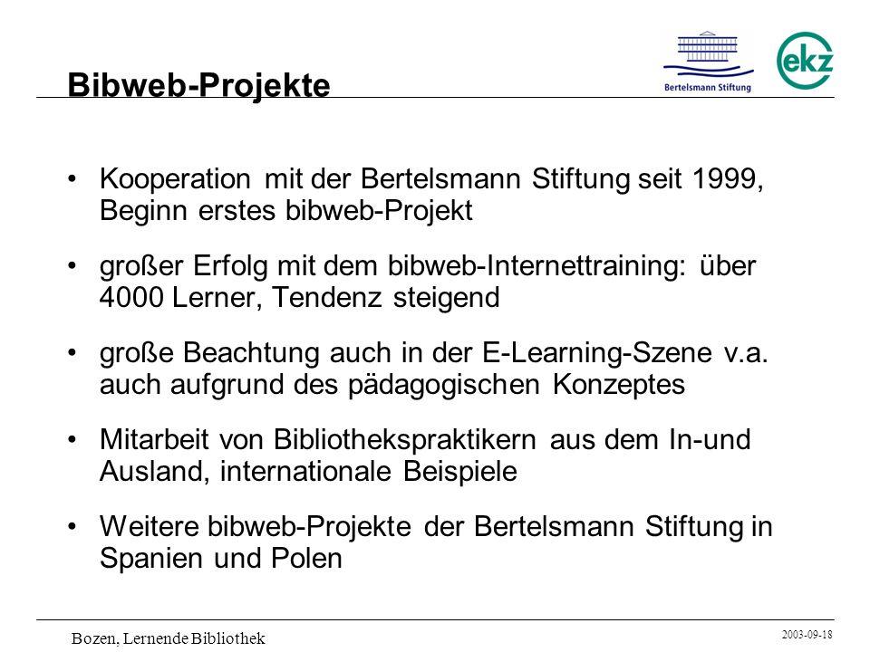 Bozen, Lernende Bibliothek 2003-09-18 Bibweb-Projekte Kooperation mit der Bertelsmann Stiftung seit 1999, Beginn erstes bibweb-Projekt großer Erfolg m