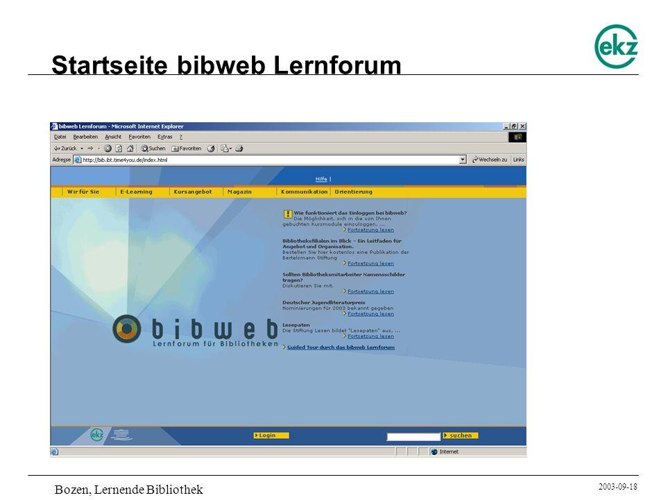 Bozen, Lernende Bibliothek 2003-09-18 Startseite bibweb Lernforum