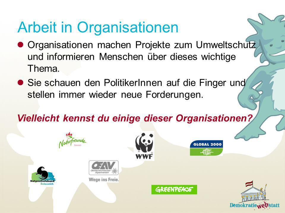 Arbeit in Organisationen Organisationen machen Projekte zum Umweltschutz und informieren Menschen über dieses wichtige Thema. Sie schauen den Politike