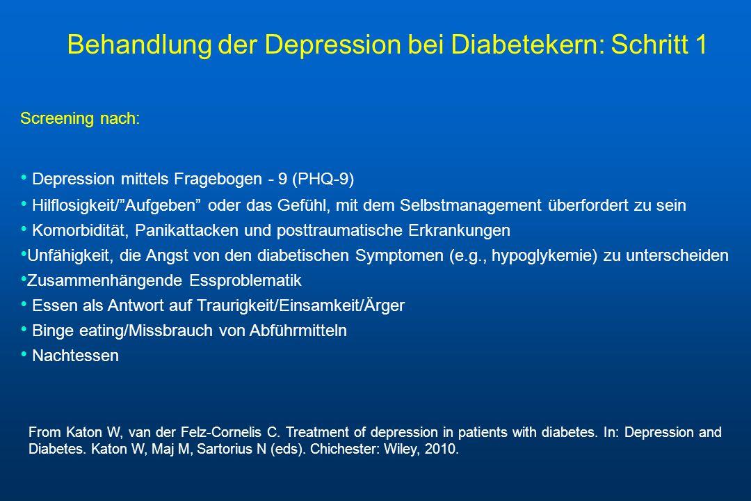 Screening nach: Depression mittels Fragebogen - 9 (PHQ-9) Hilflosigkeit/Aufgeben oder das Gefühl, mit dem Selbstmanagement überfordert zu sein Komorbi