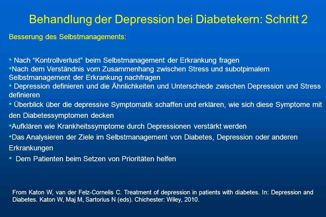 Besserung des Selbstmanagements: Nach Kontrollverlust beim Selbstmanagement der Erkrankung fragen Nach dem Verständnis vom Zusammenhang zwischen Stres
