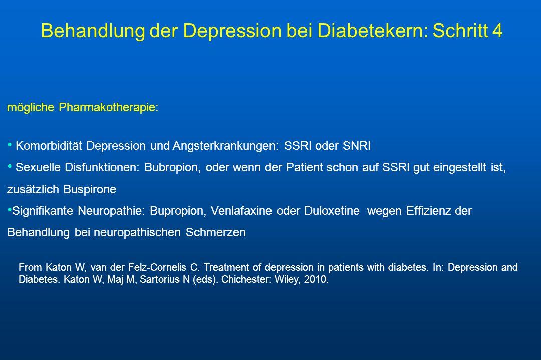mögliche Pharmakotherapie: Komorbidität Depression und Angsterkrankungen: SSRI oder SNRI Sexuelle Disfunktionen: Bubropion, oder wenn der Patient scho