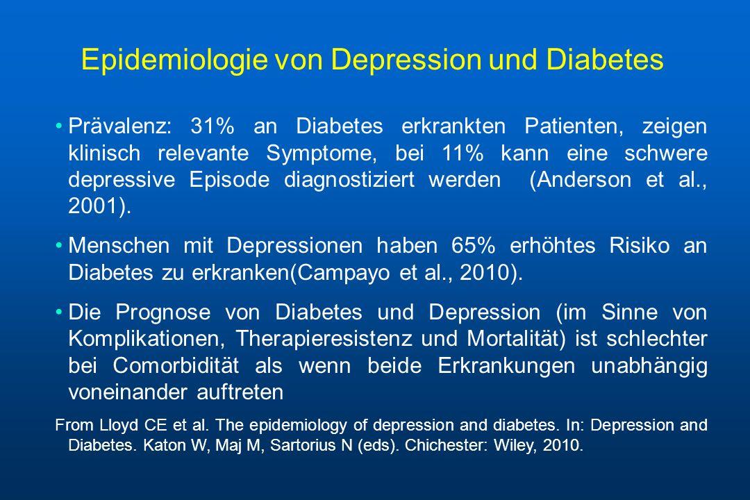 Epidemiologie von Depression und Diabetes Prävalenz: 31% an Diabetes erkrankten Patienten, zeigen klinisch relevante Symptome, bei 11% kann eine schwe