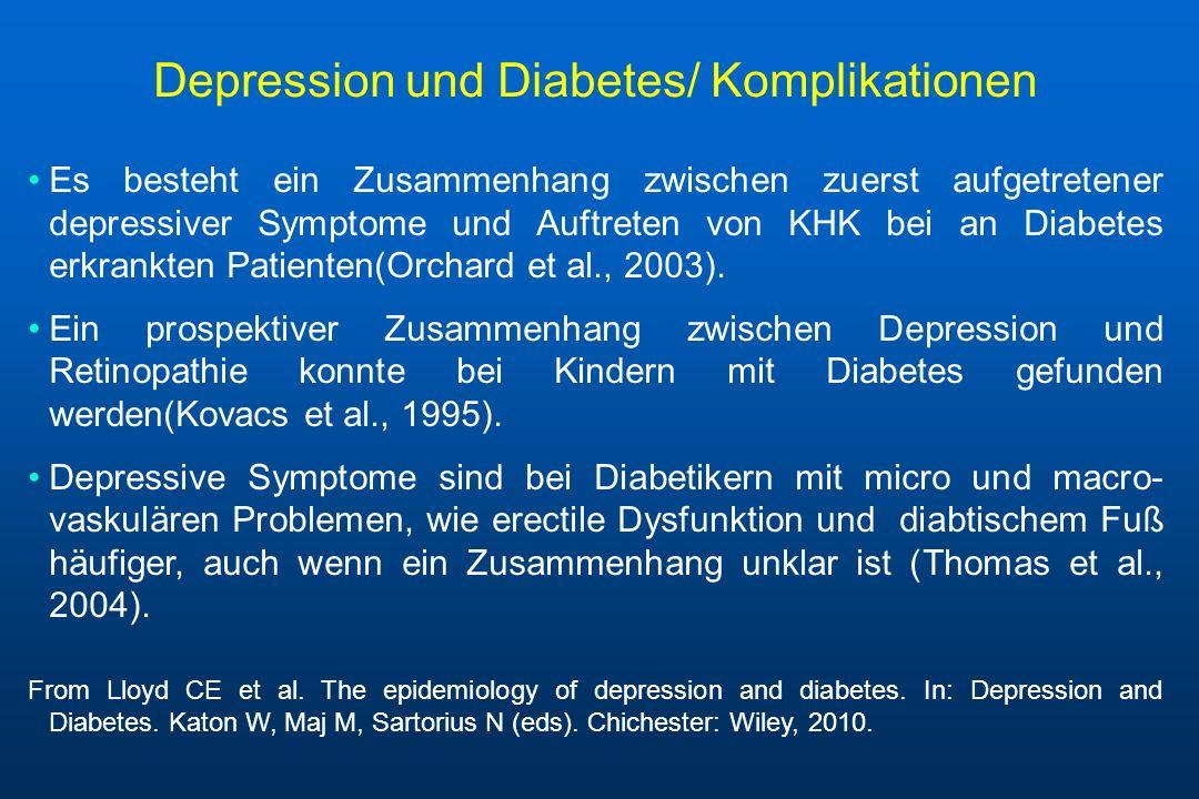Depression und Diabetes/ Komplikationen Es besteht ein Zusammenhang zwischen zuerst aufgetretener depressiver Symptome und Auftreten von KHK bei an Di