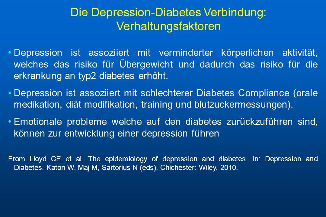 Die Depression-Diabetes Verbindung: Verhaltungsfaktoren Depression ist assoziiert mit verminderter körperlichen aktivität, welches das risiko für Über