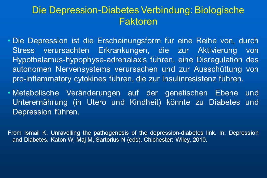 Die Depression-Diabetes Verbindung: Biologische Faktoren Die Depression ist die Erscheinungsform für eine Reihe von, durch Stress verursachten Erkrank