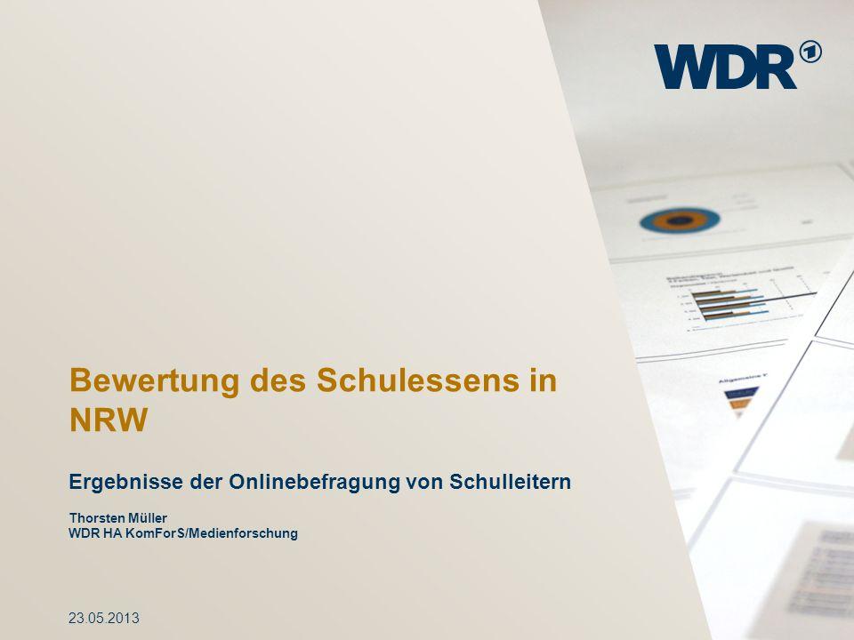 Bewertung des Schulessens in NRW Ergebnisse der Onlinebefragung von Schulleitern Thorsten Müller WDR HA KomForS/Medienforschung 23.05.2013