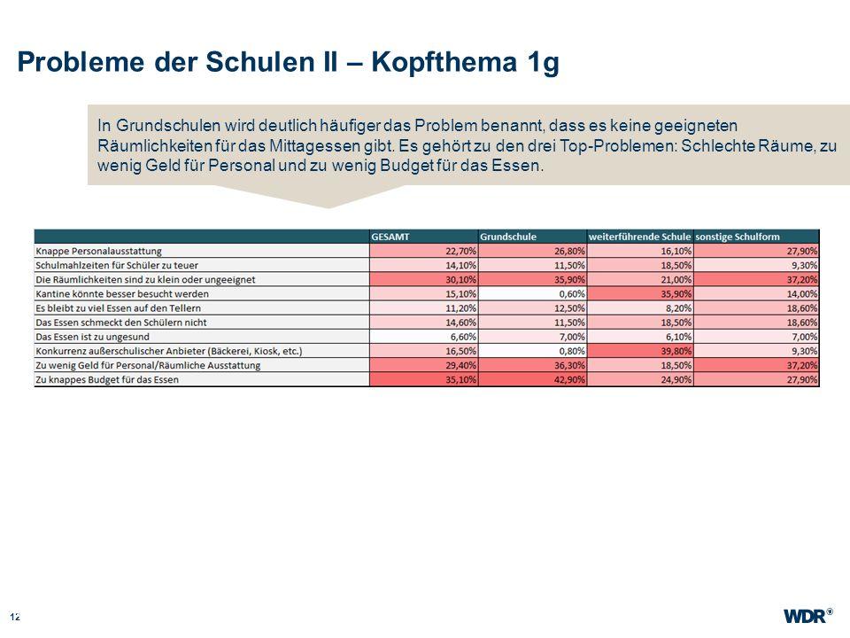 Probleme der Schulen II – Kopfthema 1g 12 WDR Müller Website wdr.de In Grundschulen wird deutlich häufiger das Problem benannt, dass es keine geeignet