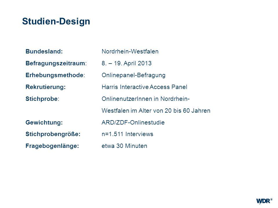 3 Studien-Design Bundesland: Nordrhein-Westfalen Befragungszeitraum: 8. – 19. April 2013 Erhebungsmethode:Onlinepanel-Befragung Rekrutierung: Harris I