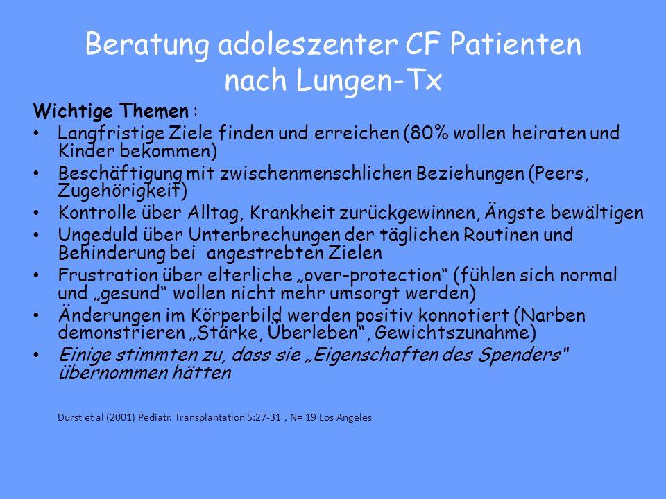 It is desirable that a psychologist working in a CF team […] Nobili et al (2011) Prä-Tx Beratung – Ziele suchen, Selbstwirksamkeit und Coping unterstü