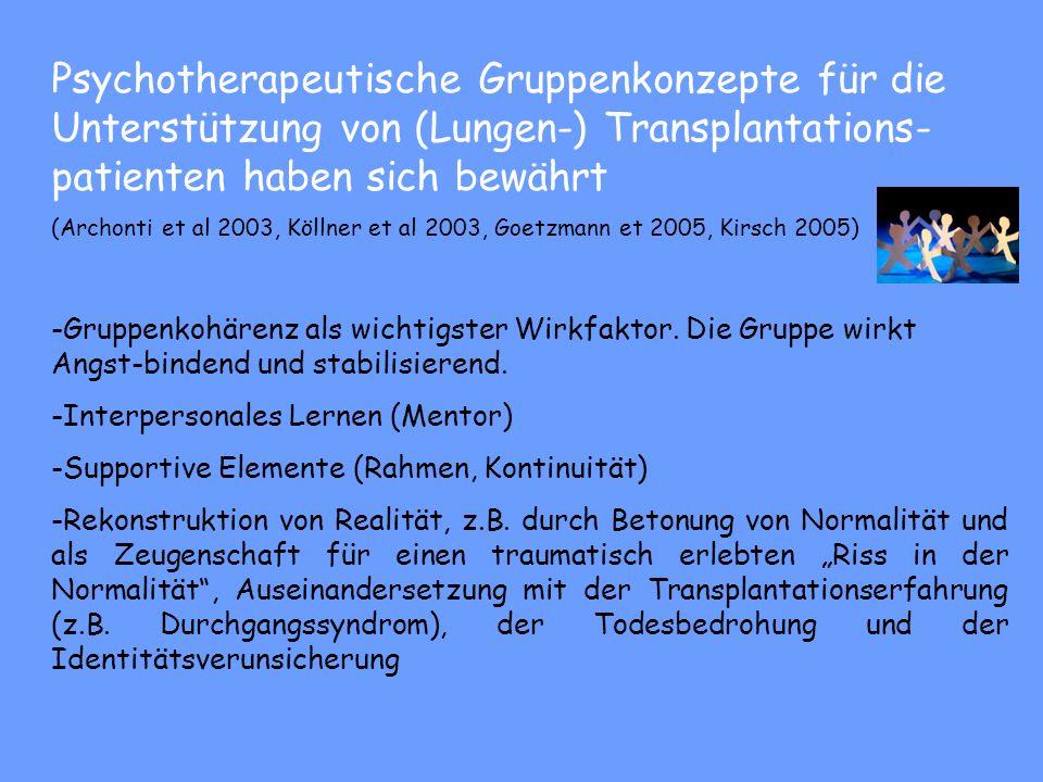 Psychosoziale Evaluation/Beratung Transplantationskonferenzen Patient/in -Informationsabende/Psychoedukation (prä- und post Tx Pat., 3x jährlich) 50%