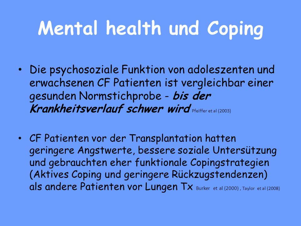 Psychosoziale Evaluation 1)Psychische Gesundheit und Coping bei CF 2)Richtlinien zur Organtransplantation: Compliance und Sucht 3) Klinische Perspekti