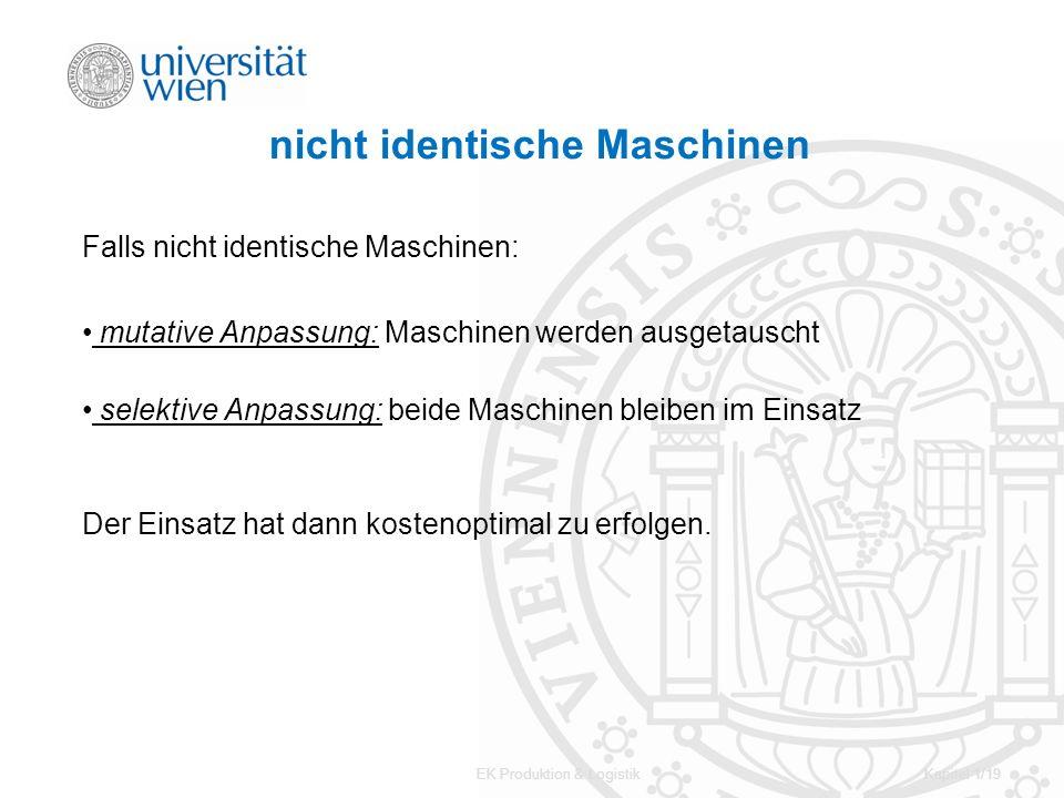 EK Produktion & LogistikKapitel 1/19 nicht identische Maschinen Falls nicht identische Maschinen: mutative Anpassung: Maschinen werden ausgetauscht se
