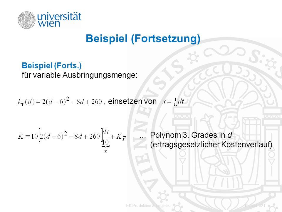EK Produktion & LogistikKapitel 1/21 Beispiel (Fortsetzung) Beispiel (Forts.) für variable Ausbringungsmenge:, einsetzen von... Polynom 3. Grades in d