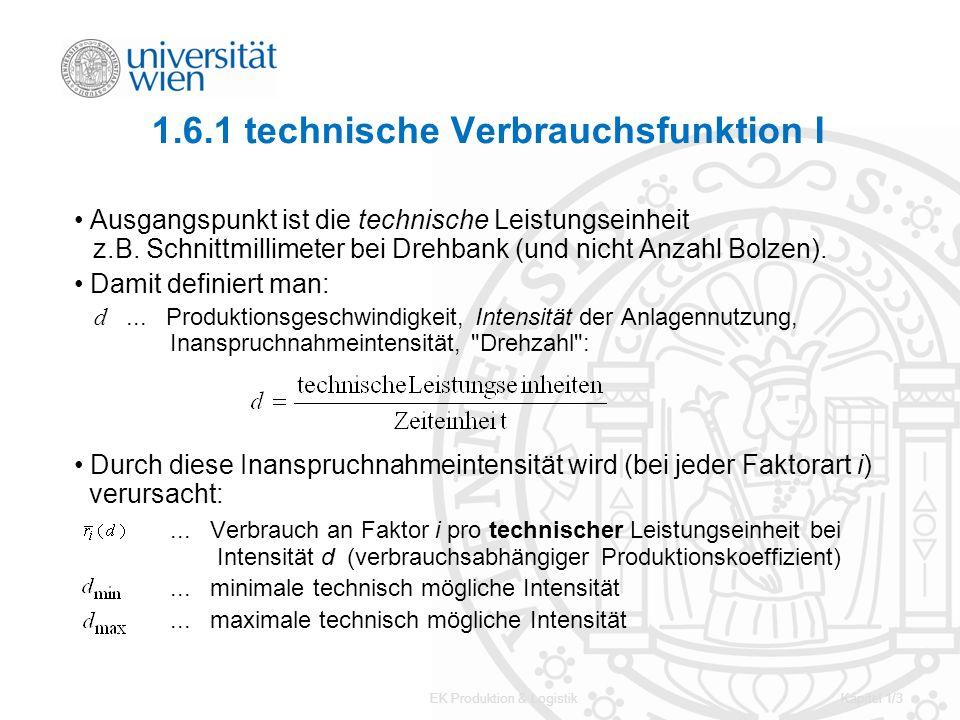 EK Produktion & LogistikKapitel 1/3 1.6.1 technische Verbrauchsfunktion I Ausgangspunkt ist die technische Leistungseinheit z.B. Schnittmillimeter bei