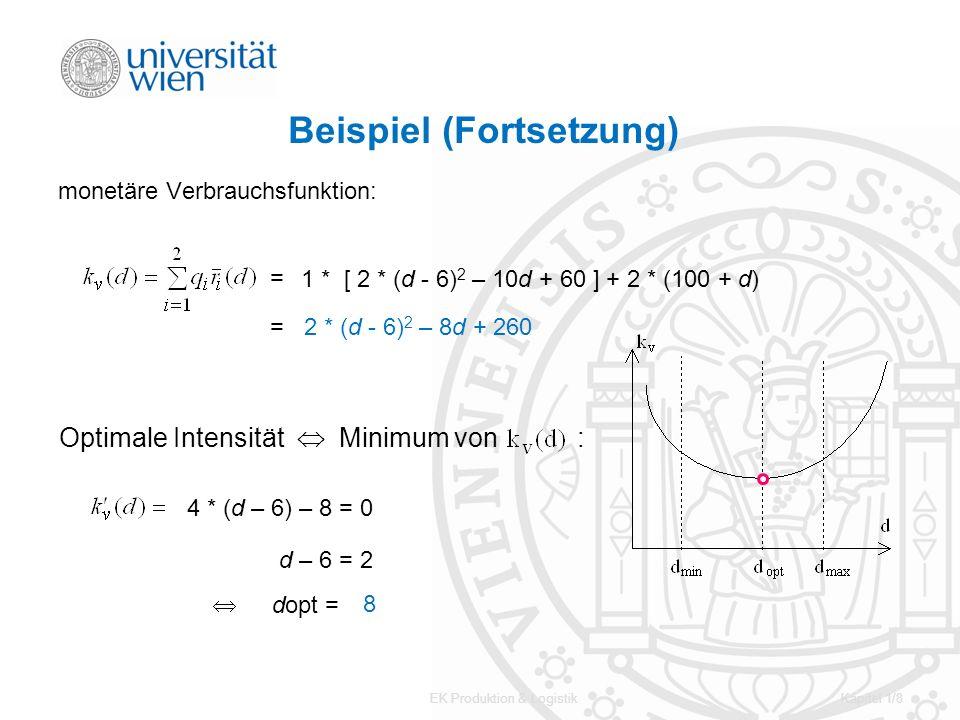 EK Produktion & LogistikKapitel 1/8 Beispiel (Fortsetzung) monetäre Verbrauchsfunktion: Optimale Intensität Minimum von : = dopt = 1 * [ 2 * (d - 6) 2
