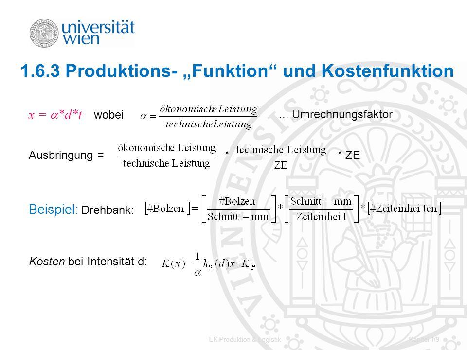 EK Produktion & LogistikKapitel 1/9 1.6.3 Produktions- Funktion und Kostenfunktion x = *d*t wobei... Umrechnungsfaktor Ausbringung = ** ZE Beispiel: D