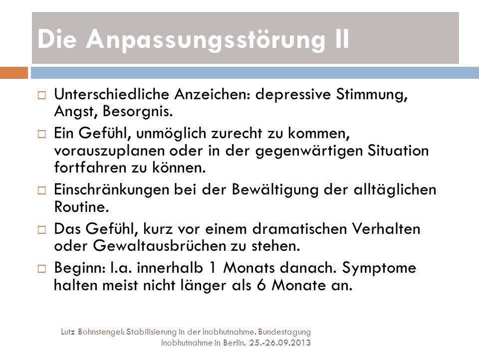 Die Anpassungsstörung II Lutz Bohnstengel: Stabilisierung in der Inobhutnahme. Bundestagung Inobhutnahme in Berlin. 25.-26.09.2013 Unterschiedliche An