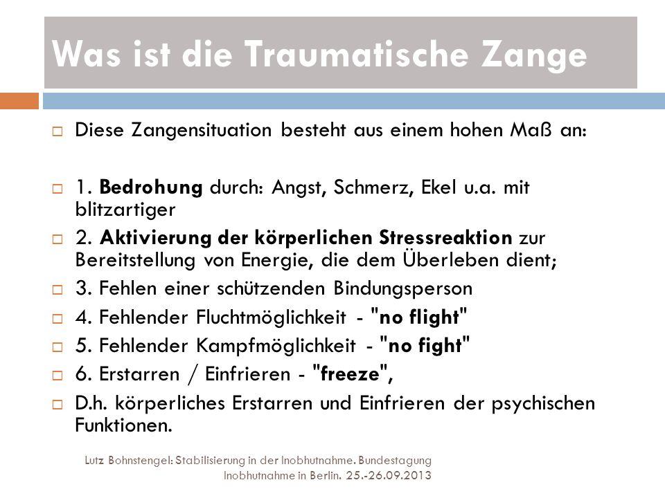 Was ist die Traumatische Zange Lutz Bohnstengel: Stabilisierung in der Inobhutnahme. Bundestagung Inobhutnahme in Berlin. 25.-26.09.2013 Diese Zangens