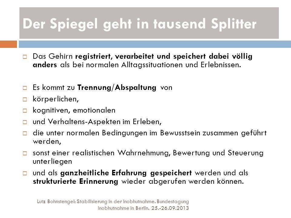 Der Spiegel geht in tausend Splitter Lutz Bohnstengel: Stabilisierung in der Inobhutnahme. Bundestagung Inobhutnahme in Berlin. 25.-26.09.2013 Das Geh