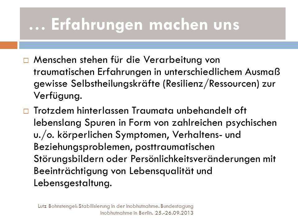 … Erfahrungen machen uns Lutz Bohnstengel: Stabilisierung in der Inobhutnahme. Bundestagung Inobhutnahme in Berlin. 25.-26.09.2013 Menschen stehen für