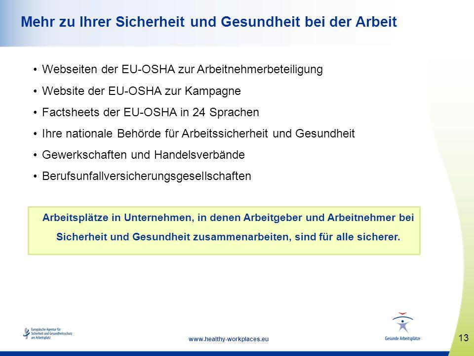 13 www.healthy-workplaces.eu Mehr zu Ihrer Sicherheit und Gesundheit bei der Arbeit Webseiten der EU-OSHA zur Arbeitnehmerbeteiligung Website der EU-O