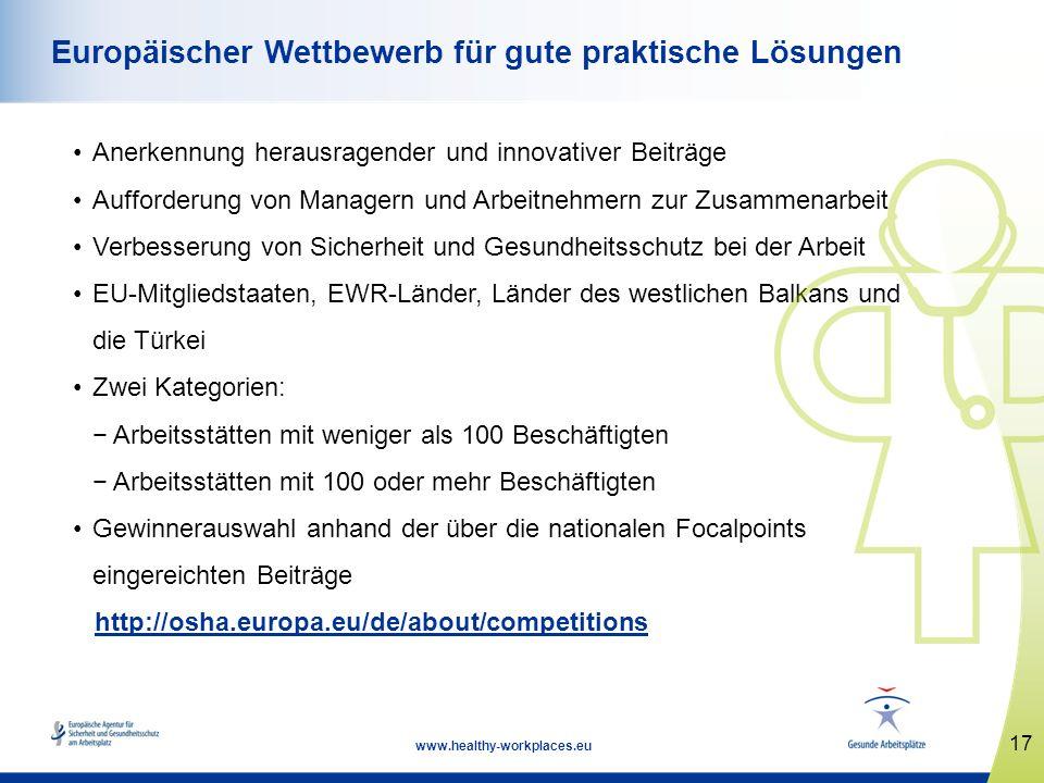17 www.healthy-workplaces.eu Europäischer Wettbewerb für gute praktische Lösungen Anerkennung herausragender und innovativer Beiträge Aufforderung von