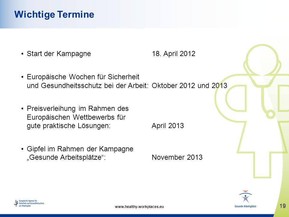 Start der Kampagne 18. April 2012 Europäische Wochen für Sicherheit und Gesundheitsschutz bei der Arbeit: Oktober 2012 und 2013 Preisverleihung im Rah