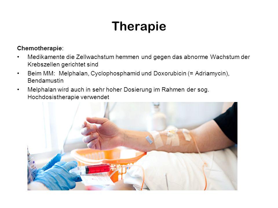 Therapie Chemotherapie: Medikamente die Zellwachstum hemmen und gegen das abnorme Wachstum der Krebszellen gerichtet sind Beim MM: Melphalan, Cyclopho