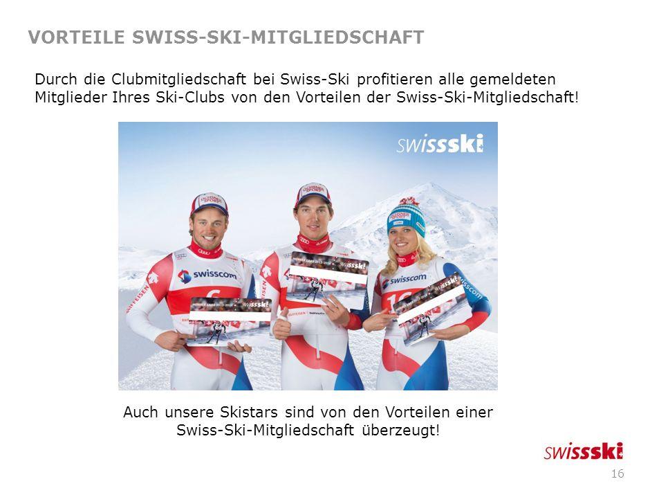 15 SWISS-SKI-CLUBS STARTEN DURCH 1. Facts 2. Vorteile für Swiss-Ski-Clubs 3. Vorteile Swiss-Ski-Mitgliedschaft