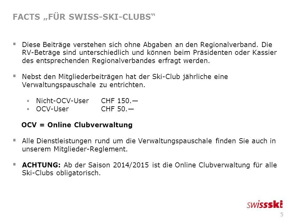5 FACTS FÜR SWISS-SKI-CLUBS Diese Beiträge verstehen sich ohne Abgaben an den Regionalverband.