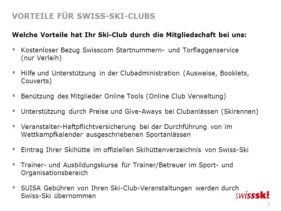 7 VORTEILE FÜR SWISS-SKI-CLUBS Welche Vorteile hat Ihr Ski-Club durch die Mitgliedschaft bei uns: Kostenloser Bezug Swisscom Startnummern- und Torflaggenservice (nur Verleih) Hilfe und Unterstützung in der Clubadministration (Ausweise, Booklets, Couverts) Benützung des Mitglieder Online Tools (Online Club Verwaltung) Unterstützung durch Preise und Give-Aways bei Clubanlässen (Skirennen) Veranstalter-Haftpflichtversicherung bei der Durchführung von im Wettkampfkalender ausgeschriebenen Sportanlässen Eintrag Ihrer Skihütte im offiziellen Skihüttenverzeichnis von Swiss-Ski Trainer- und Ausbildungskurse für Trainer/Betreuer im Sport- und Organisationsbereich SUISA Gebühren von Ihren Ski-Club-Veranstaltungen werden durch Swiss-Ski übernommen