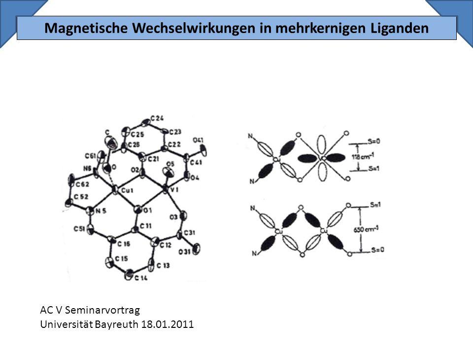 Spinpolarisation: 12 Der Spinpolarisationsmechanismus wird von einem Molekülorbitalmodell, das für aromatische Kohlenwasserstoffe gilt, abgeleitet: ferromagnetische Wechselwirkungen zwischen zwei Radikalen, bei einer m-phenylen Brücke beide ungepaarten Elektronen befinden sich in einem paar entarteter SOMOs gleicher Orthogonalität Daraus resultiert eine alternierende Anordnung von α und β Spins bei den verbrückenden Atomen, die sogenannte Spinpolarisation
