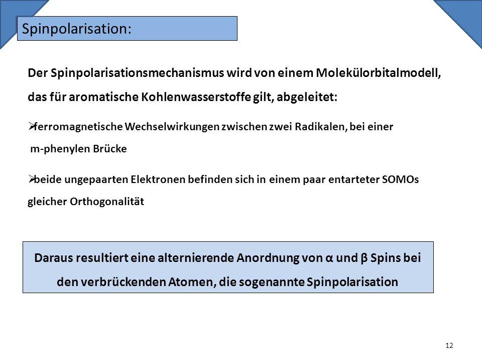 Spinpolarisation: 12 Der Spinpolarisationsmechanismus wird von einem Molekülorbitalmodell, das für aromatische Kohlenwasserstoffe gilt, abgeleitet: fe