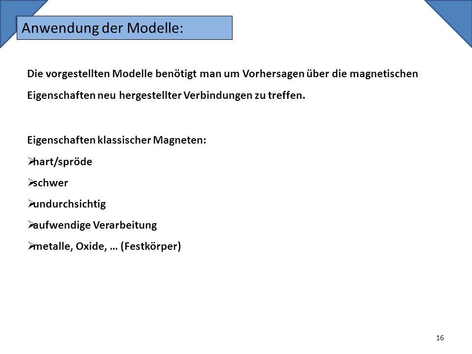 Anwendung der Modelle: 16 Die vorgestellten Modelle benötigt man um Vorhersagen über die magnetischen Eigenschaften neu hergestellter Verbindungen zu