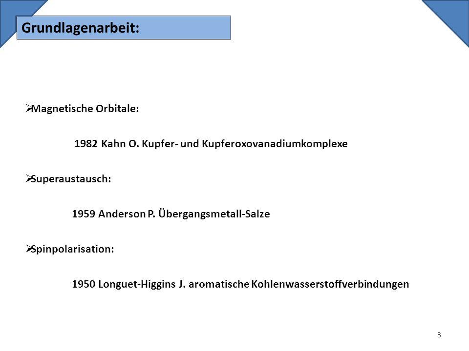 Grundlagenarbeit: 3 Magnetische Orbitale: 1982 Kahn O. Kupfer- und Kupferoxovanadiumkomplexe Superaustausch: 1959 Anderson P. Übergangsmetall-Salze Sp