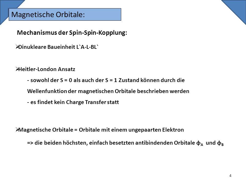 Magnetische Orbitale: 4 Mechanismus der Spin-Spin-Kopplung: Dinukleare Baueinheit L`A-L-BL` Heitler-London Ansatz - sowohl der S = 0 als auch der S =