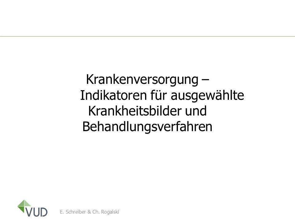 Krankenversorgung – Indikatoren für ausgewählte Krankheitsbilder und Behandlungsverfahren E. Schreiber & Ch. Rogalski